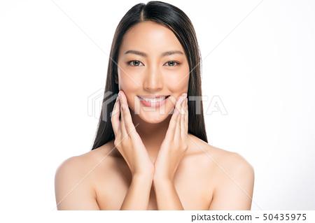 Beautiful Young asian Woman with Clean Fresh Skin 50435975