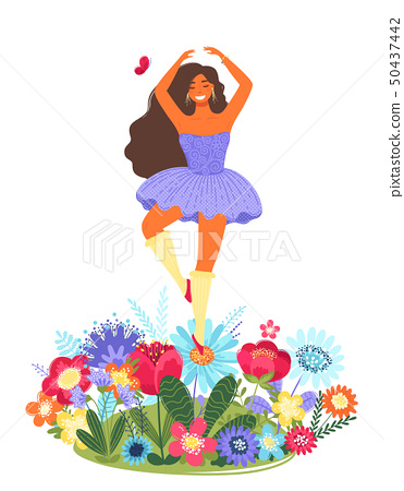 Vector template with happy woman dancing on a flower. Modern flat colorful vector illustration. 50437442