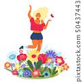 女人 女性 花朵 50437443