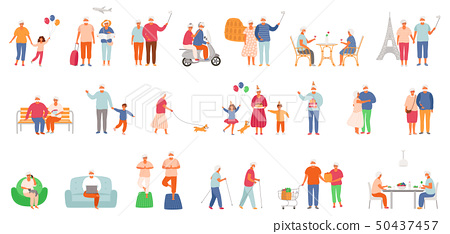 Big set of active lifestyle seniors. Elderly people characters. Grandfather and grandmother isolated 50437457