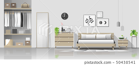 Interior background with modern cozy bedroom 50438541