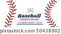 Baseball ball text frame on white background. 50438902