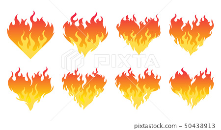Bonfire set. Burning hearts 50438913