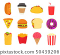 Fast food,snacks set. French fries, hot dog,  50439206