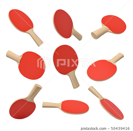3d rendering of set of ping pong rackets with wooden handle and red rubber on white background. 50439416