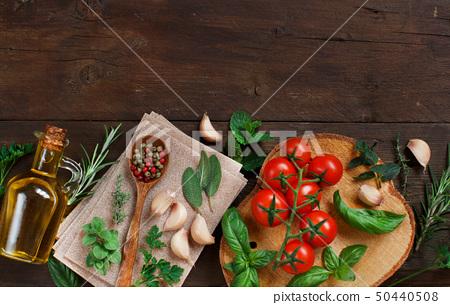 Raw lasagna pasta, vegetables and herbs 50440508