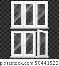 Realistic 3d Detailed White Plastic PVC Window Set. Vector 50441522