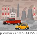 Cartoon Car Air Pollution Concept Card Poster. Vector 50441553