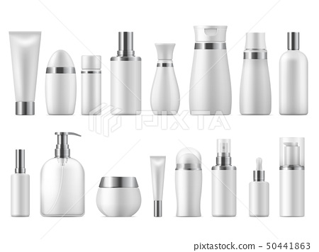 Realistic cosmetic package. Beauty cosmetic product empty white 3D pack spa cosmetics blank mockup 50441863