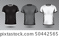 Realistic Unisex Shirt Design Tempale on Transparent Background, Vector Blank Black, Gray and White 50442565