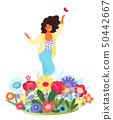 女人 女性 花朵 50442667