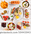 Greek food background. Traditional different greek dishes , top view. 50443943