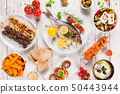Greek food background. Traditional different greek dishes , top view. 50443944