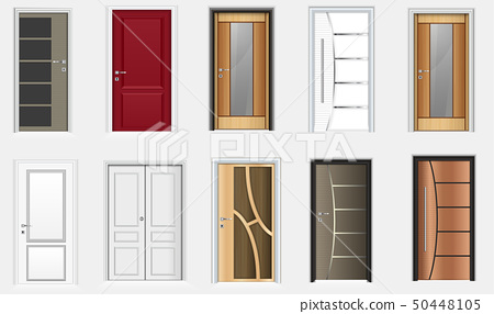 Collection of colorful room doors icons 50448105