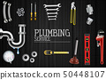 Plumber service icons set on wooden background 50448107