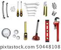 Plumber service icons set on white background 50448108