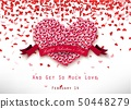 Valentine heart concept of roses with pink ribbon  50448279