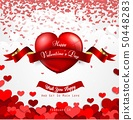 Happy valentines day background with cut paper hea 50448283