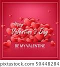 Vector illustration of Valentines day on red backg 50448284