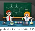 Boy and girl doing chemical experiment 50448335