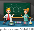 Science teacher with a Students in laboratory room 50448338