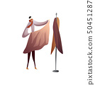 Fashion designer puts the cloth to the dummy. Vector illustration on white background. 50451287