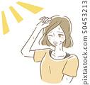 햇살 걱정하는 여성 여름 일러스트 50453213