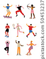 Collection of Young People Doing Different Kinds of Sports, Professional Athletes Characters in 50453237