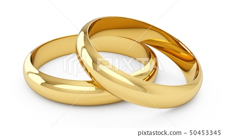 3D rendering Couple of Golden wedding rings 50453345