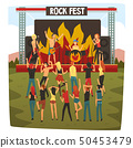 Rock Fest, Open Air Concert, Rock Band Performing on Stage, People Dancing and Having Fun Outdoor 50453479