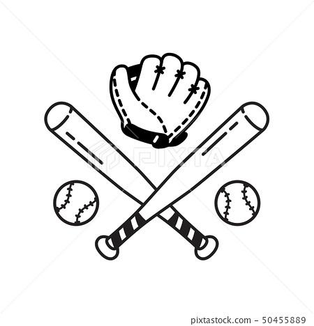 Baseball Ball icon Vector baseball bat glove sport 50455889
