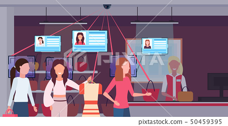 women standing line queue at checkout counter customers identification facial recognition concept 50459395