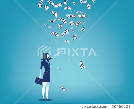 Businesswoman and money rain. Concept business 50460321
