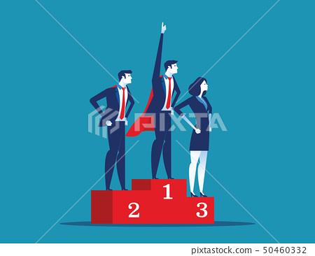 Leadership superhero standing on the winning 50460332
