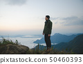 young man standing on hill is wearing green coat 50460393