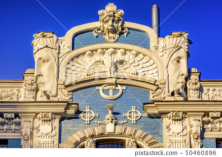 Art Nouveau building detail, Riga, Latvia 50460896