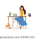 Young woman drinking coffee and working on laptop 50462161