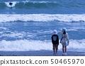 바다를 바라 보는 남매 50465970