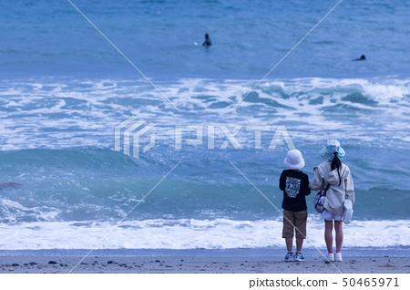 바다를 바라 보는 남매 50465971