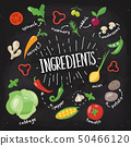 Vector healthy food poster in flat style with vegetables and lettering 50466120