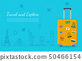 Travel composition with famous world landmarks. Travel and Tourism concept. Vector 50466154