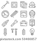 Vector Electricity outline icons set on white 50466857