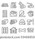 Timber industry icon set. Lline style collection 50466859