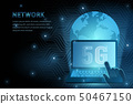 5G technology global earth and laptop background 50467150