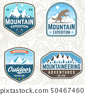 Set of mountain expedition patches. Vector. Concept for alpine club shirt or badge, print, stamp 50467460