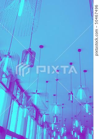 Modern design of chandelier hanging on ceiling. 50467496