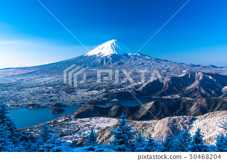 梨 Yamanashi Prefecture》 Mt. Fuji that suffered fresh winter snow in Japan 50468204
