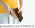 Woman hand open empty brown leather wallet  50468232