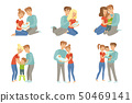 Happy parents embracing their kids set, mother and father hugging their children, happy family 50469141