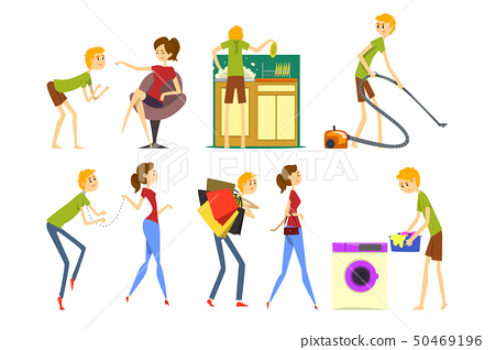 Henpecked man set, husband dominated by wife, househusband doing household cartoon vector 50469196